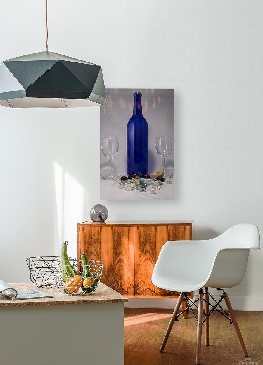Blue Wine Bottle  HD Metal print with Floating Frame on Back