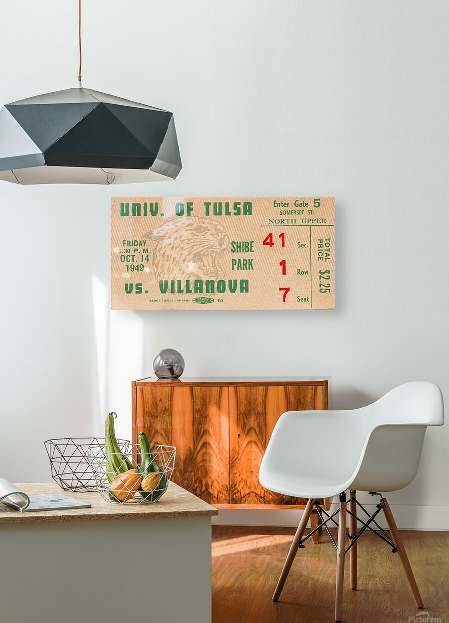 1949 Tulsa vs. Villanova Football Ticket Stub Wall Art  HD Metal print with Floating Frame on Back