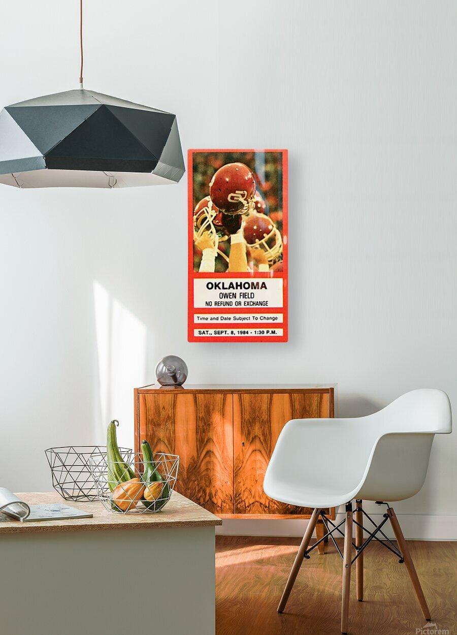 1984 Oklahoma Sooners Football Ticket Wall Art  HD Metal print with Floating Frame on Back