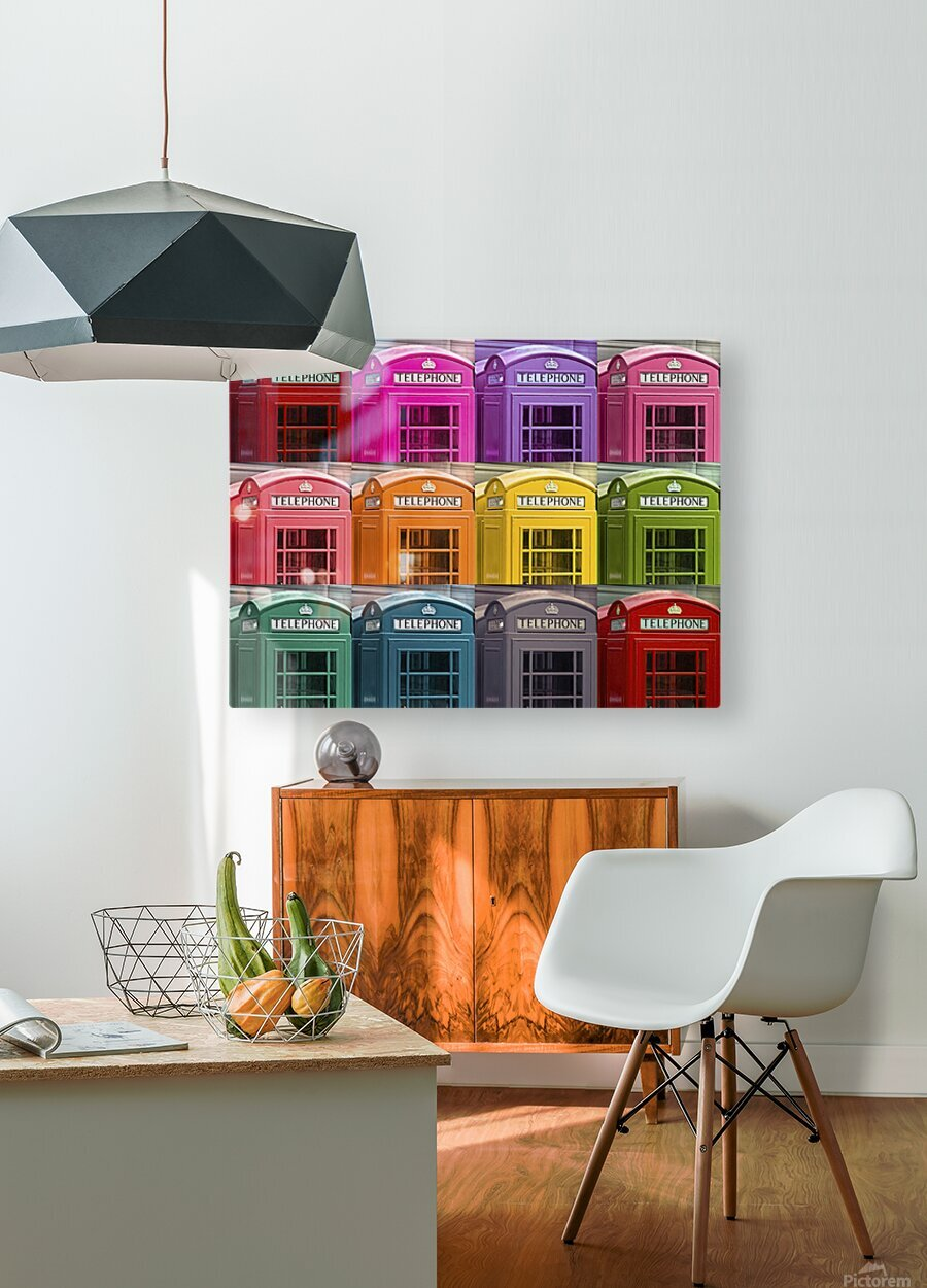 Multicoloured telephone boxes  HD Metal print with Floating Frame on Back