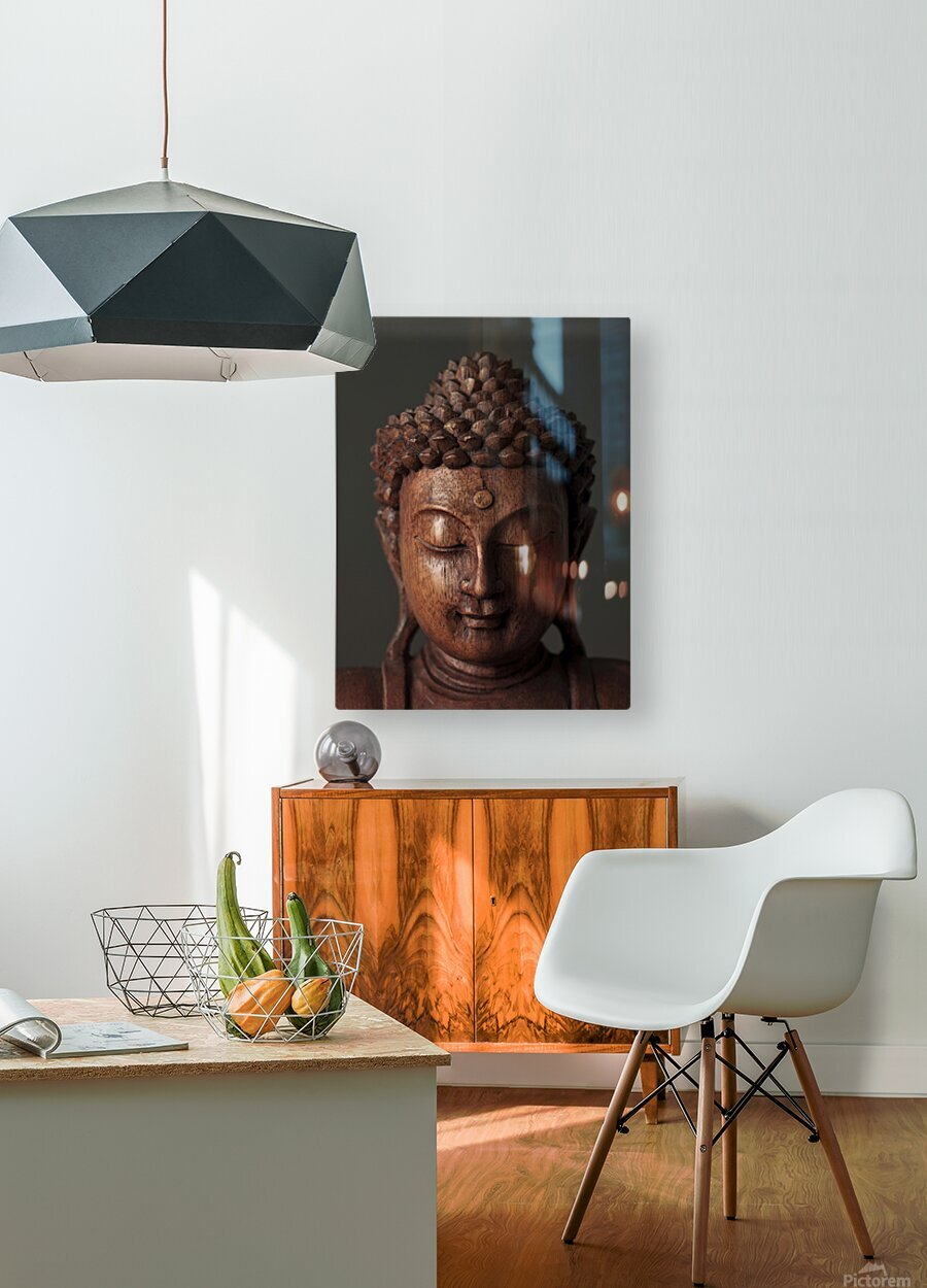 Buddha sculpture face  HD Metal print with Floating Frame on Back