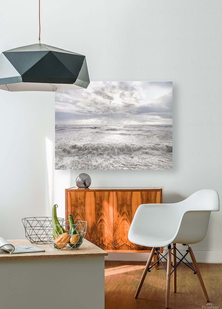 Rough and stormy sea at dusk, Charmouth, Dorset, UK  HD Metal print with Floating Frame on Back