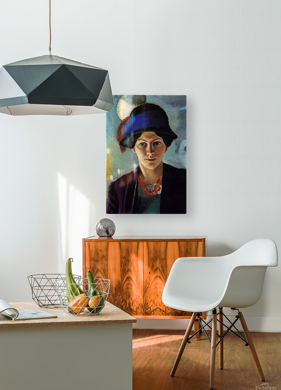 Portrait of the wife of the artist with a hat by Macke  Impression métal HD avec cadre flottant sur le dos