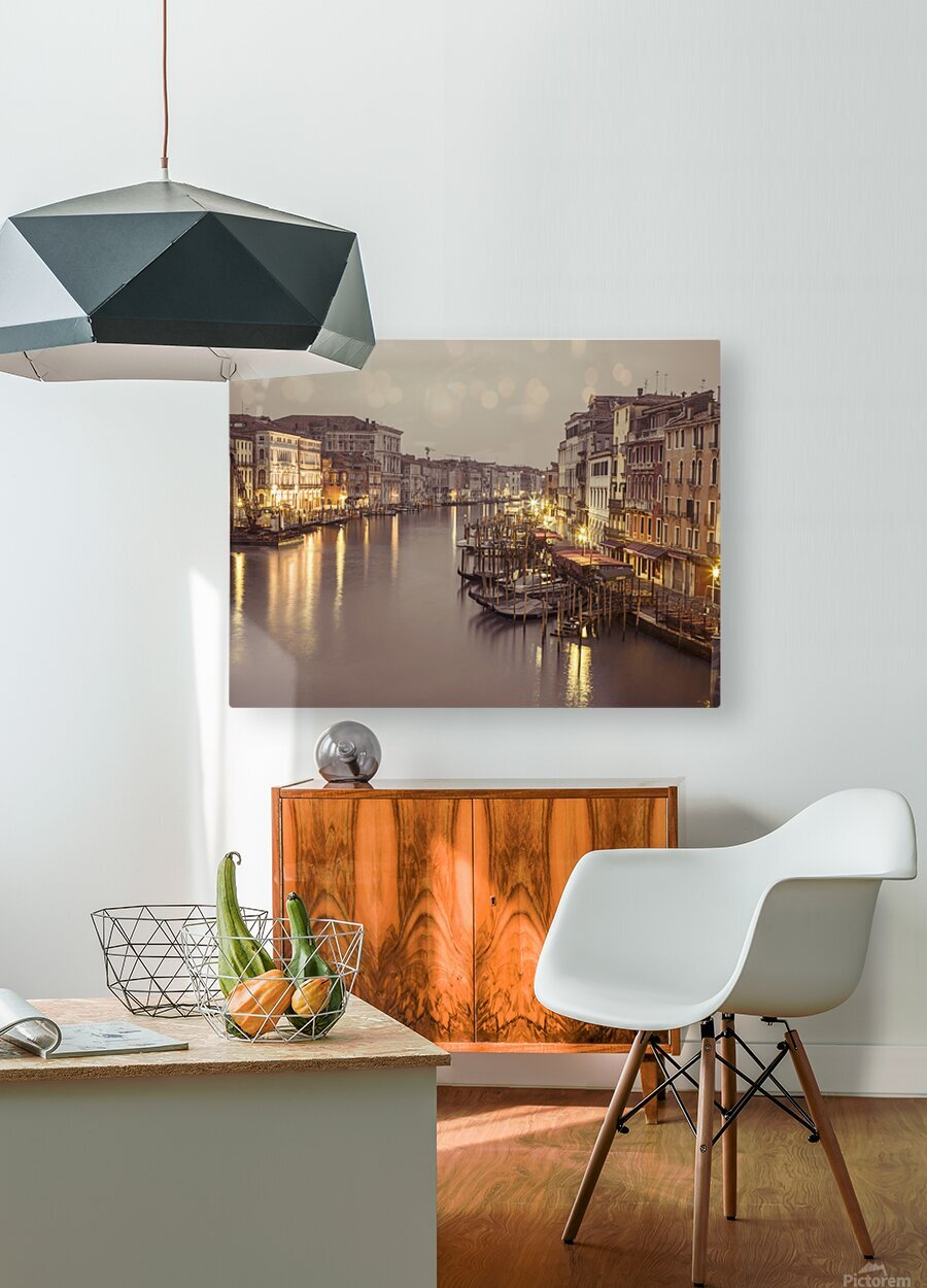 The Grand canal at dusk, Venice, Italy  HD Metal print with Floating Frame on Back