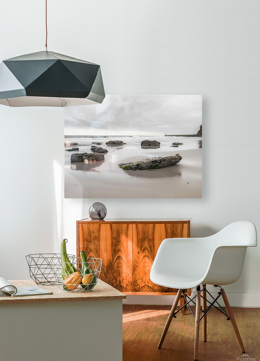 Rocks on a sandy beach  HD Metal print with Floating Frame on Back