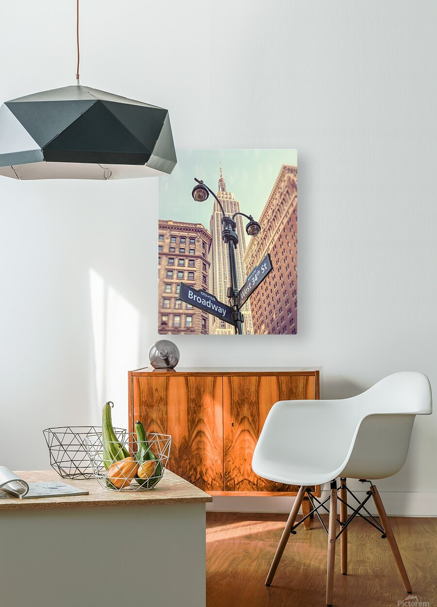 Street lamp and street signs with Empire State building in background - New York  HD Metal print with Floating Frame on Back