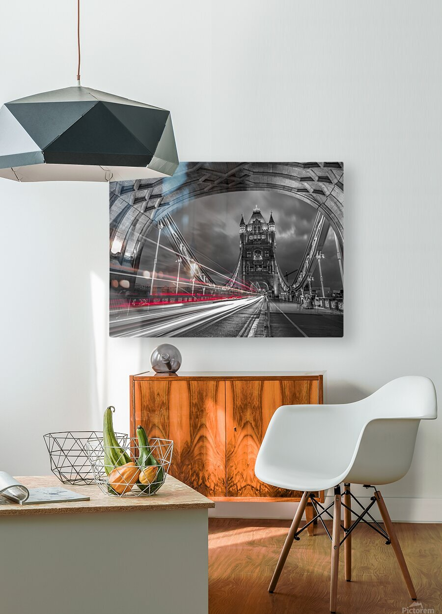 Tower bridge with strip lights, London, UK  HD Metal print with Floating Frame on Back