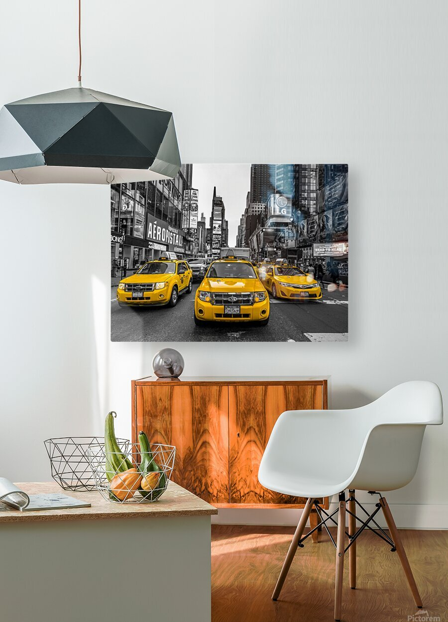 Taxi on broadway, New York  HD Metal print with Floating Frame on Back