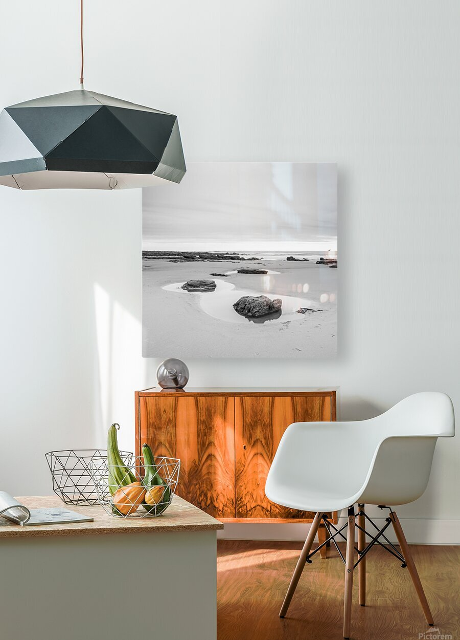 Rock pools on a sandy beach  HD Metal print with Floating Frame on Back