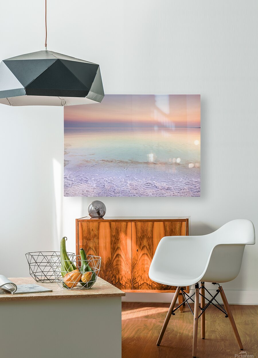 Dead sea shore at dusk, Israel  HD Metal print with Floating Frame on Back