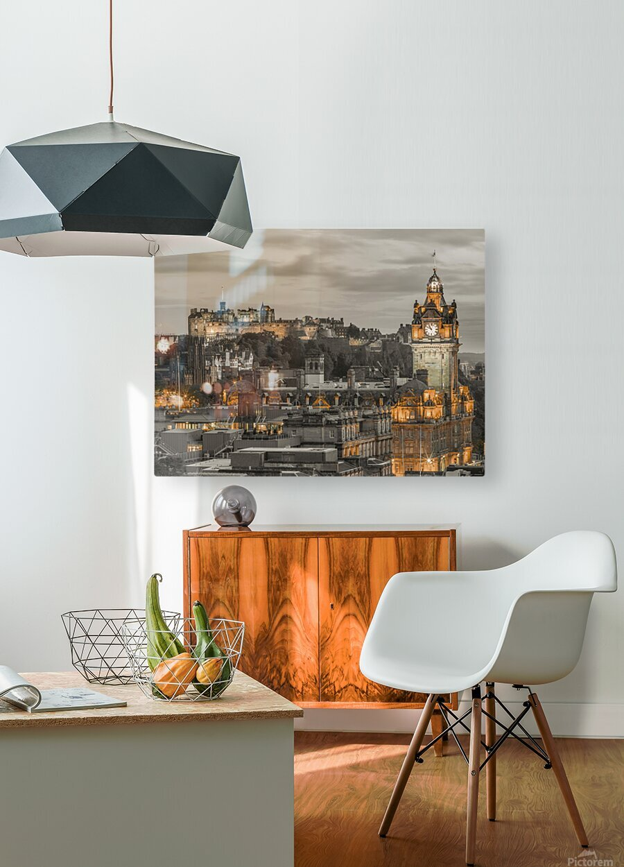 Edinburgh Castle and The Balmoral Hotel, Scotland  HD Metal print with Floating Frame on Back