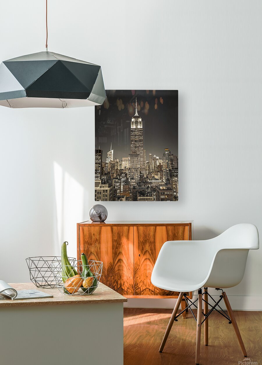 Empire State Building with New York City Manhattan skyline with skyscrapers  HD Metal print with Floating Frame on Back