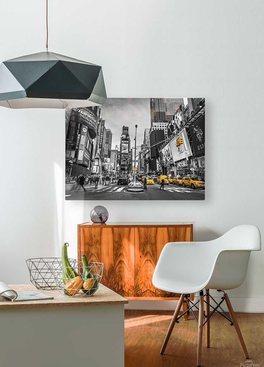 Traffic signal on broadway Times Square,  Manhattan, New York City  HD Metal print with Floating Frame on Back