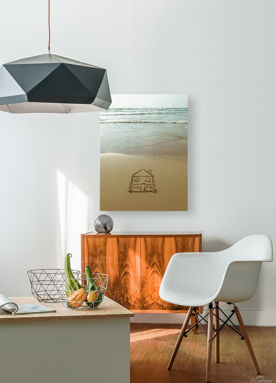 Sweet home drawn on sand at the beach  HD Metal print with Floating Frame on Back