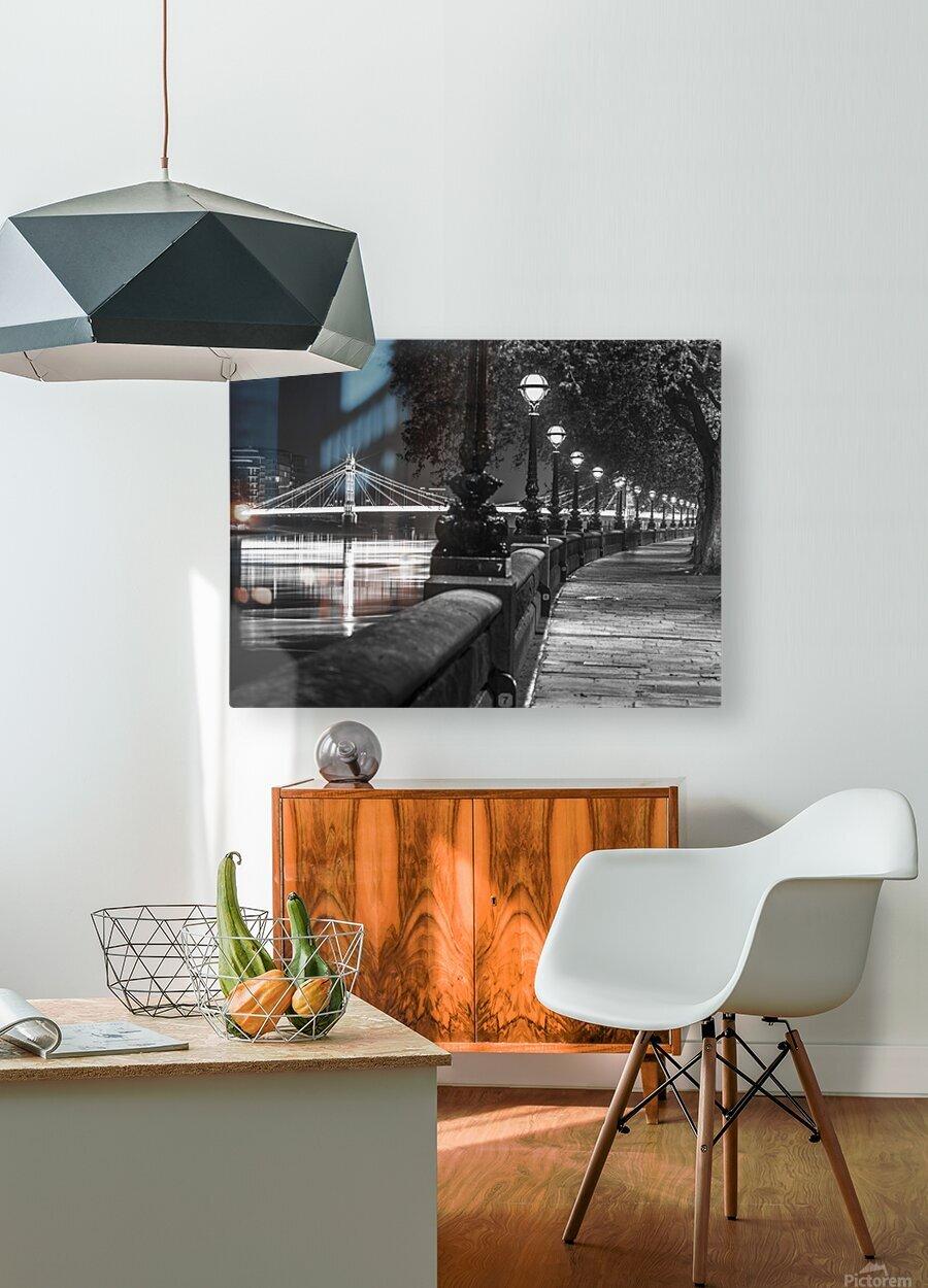 London Riverside Promenade with Albert Bridge  HD Metal print with Floating Frame on Back