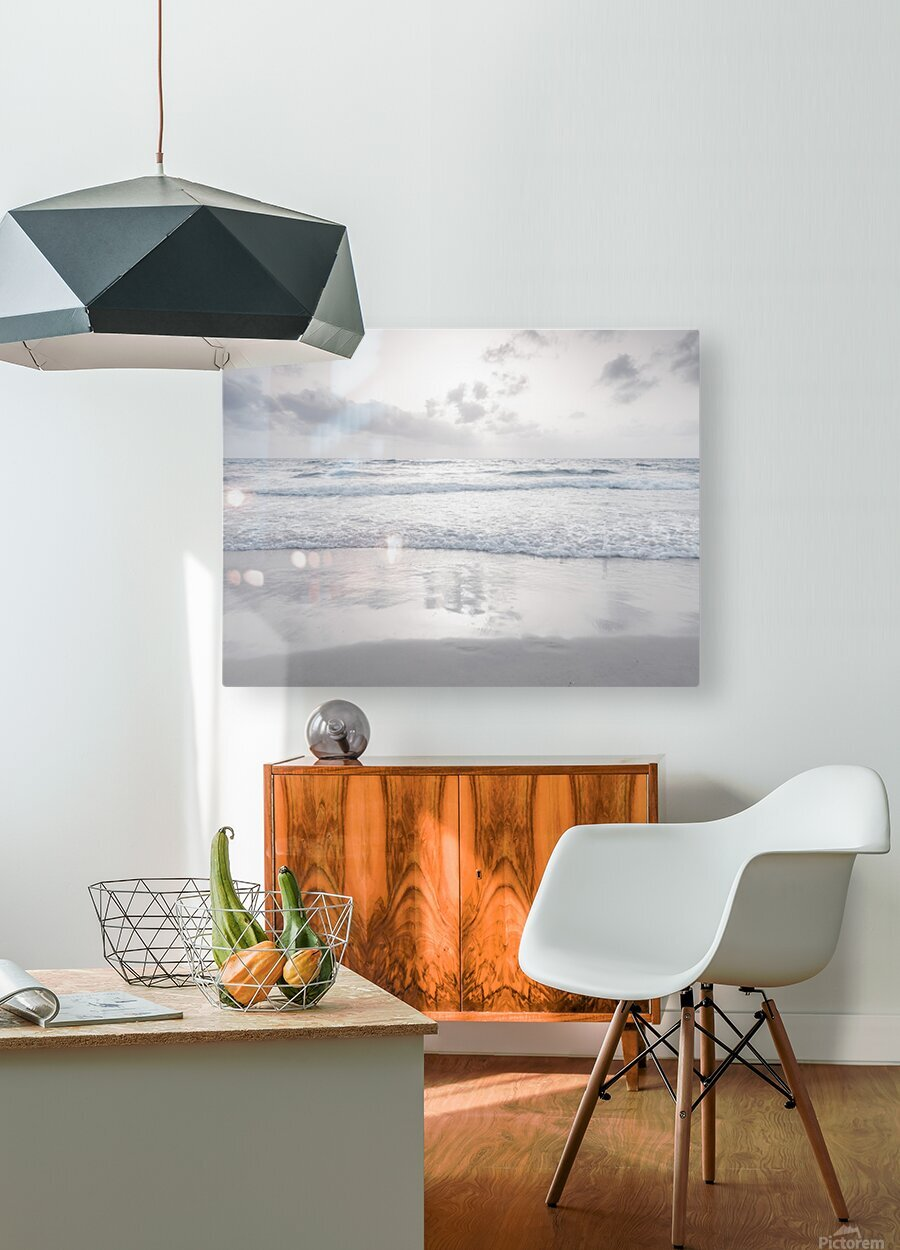 Tranquil beach with cloudscapes  HD Metal print with Floating Frame on Back