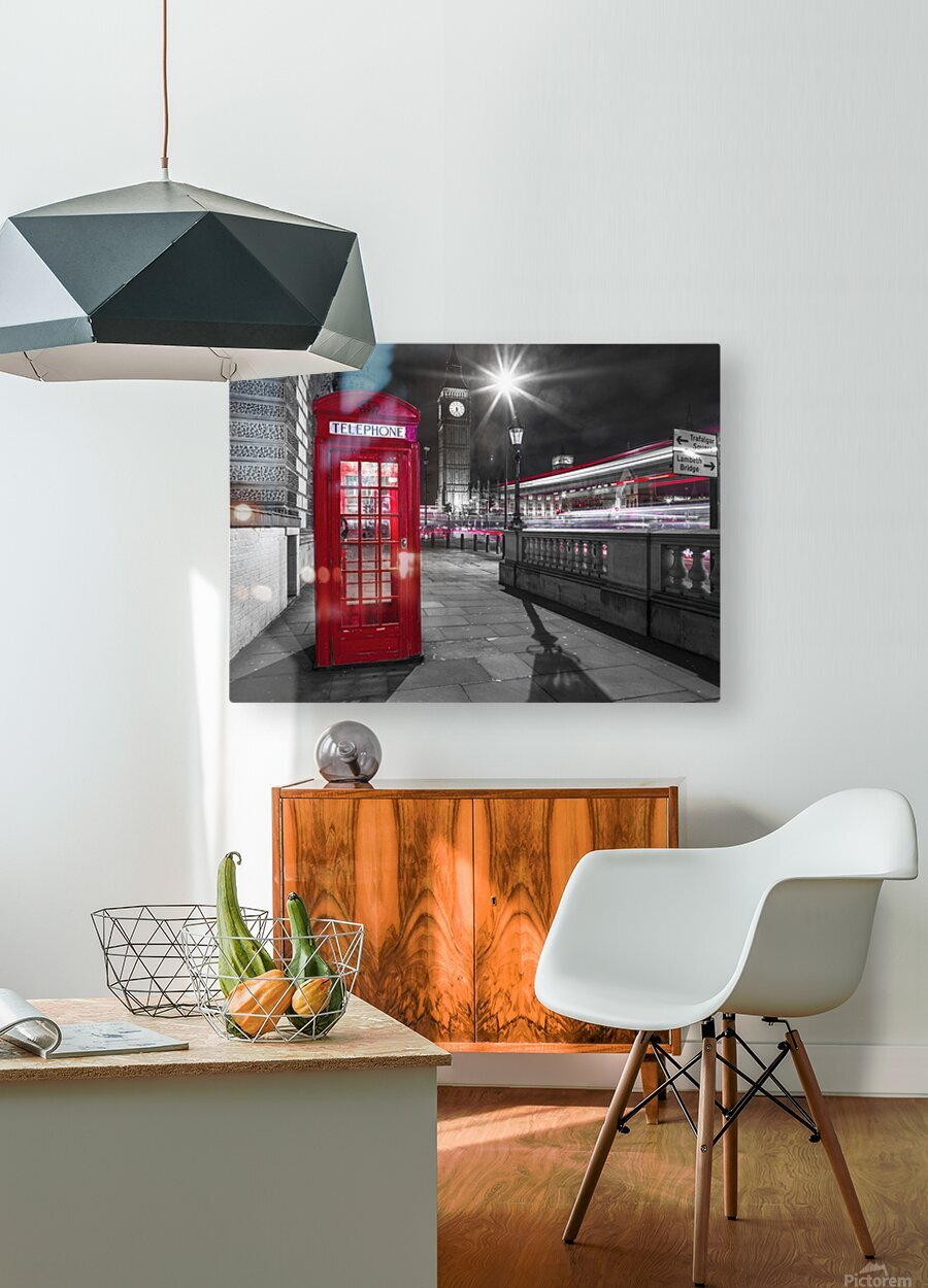 Telephone box with Big Ben, London, Uk  HD Metal print with Floating Frame on Back