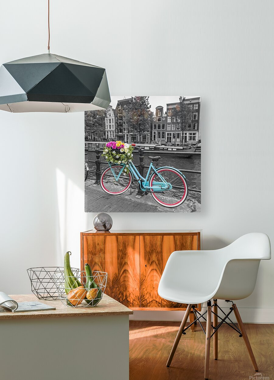 Bicycle with bunch of roses on bridge, Amsterdam  HD Metal print with Floating Frame on Back