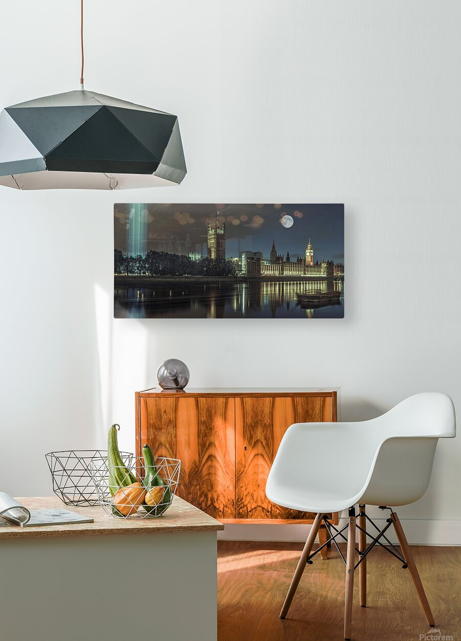 Column of spectra lights with Westminster Abby, London, UK  Impression métal HD avec cadre flottant sur le dos