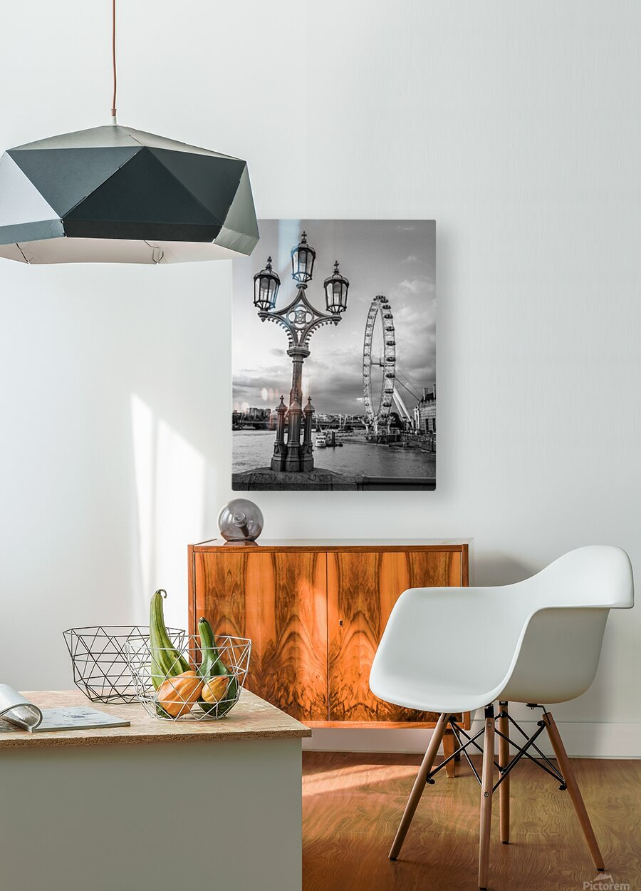 Street lamp with London Eye, London, UK  HD Metal print with Floating Frame on Back