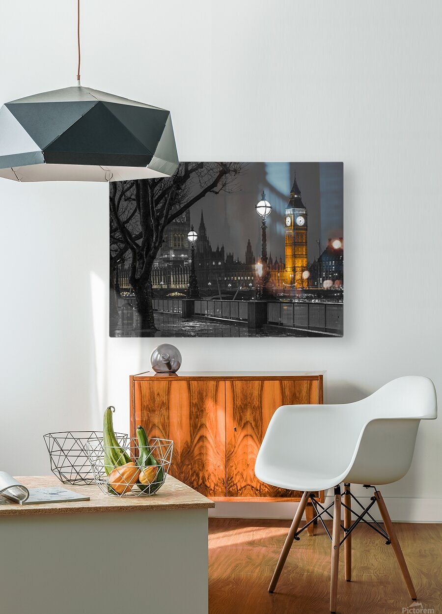 London cityscape in evening from Thames promenade  HD Metal print with Floating Frame on Back