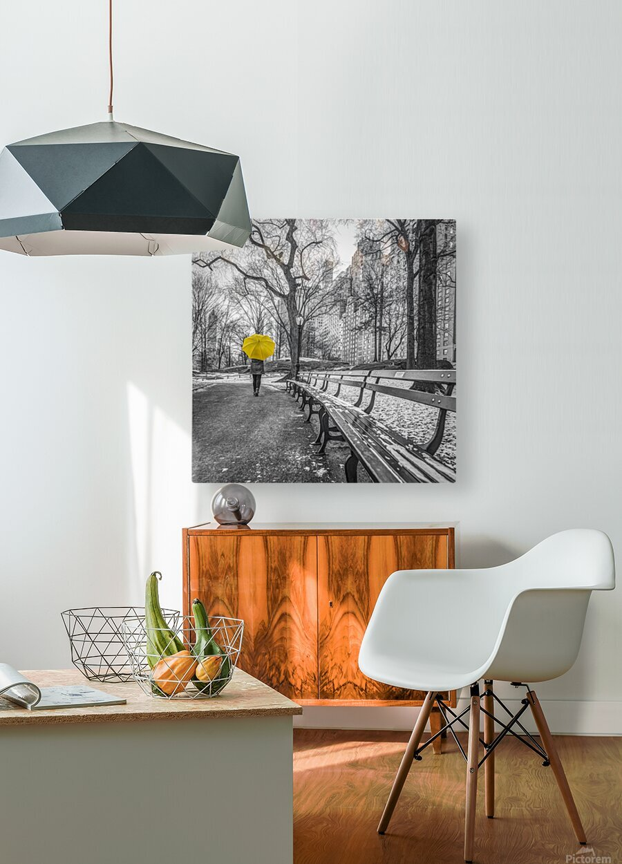 Tourist on pathway with Yellow umbrella at Central park, New York  HD Metal print with Floating Frame on Back
