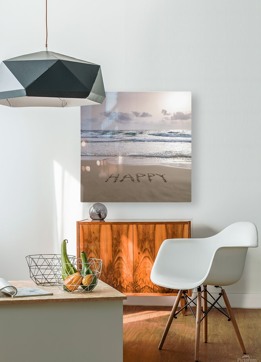 Sand writing - Word Happy written on beach  HD Metal print with Floating Frame on Back