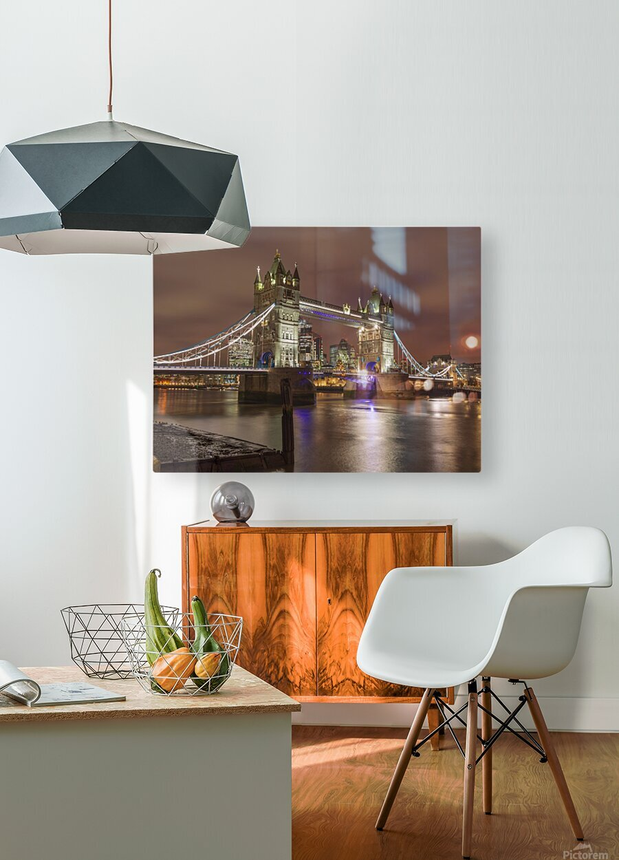Tower bridge at night, London  HD Metal print with Floating Frame on Back