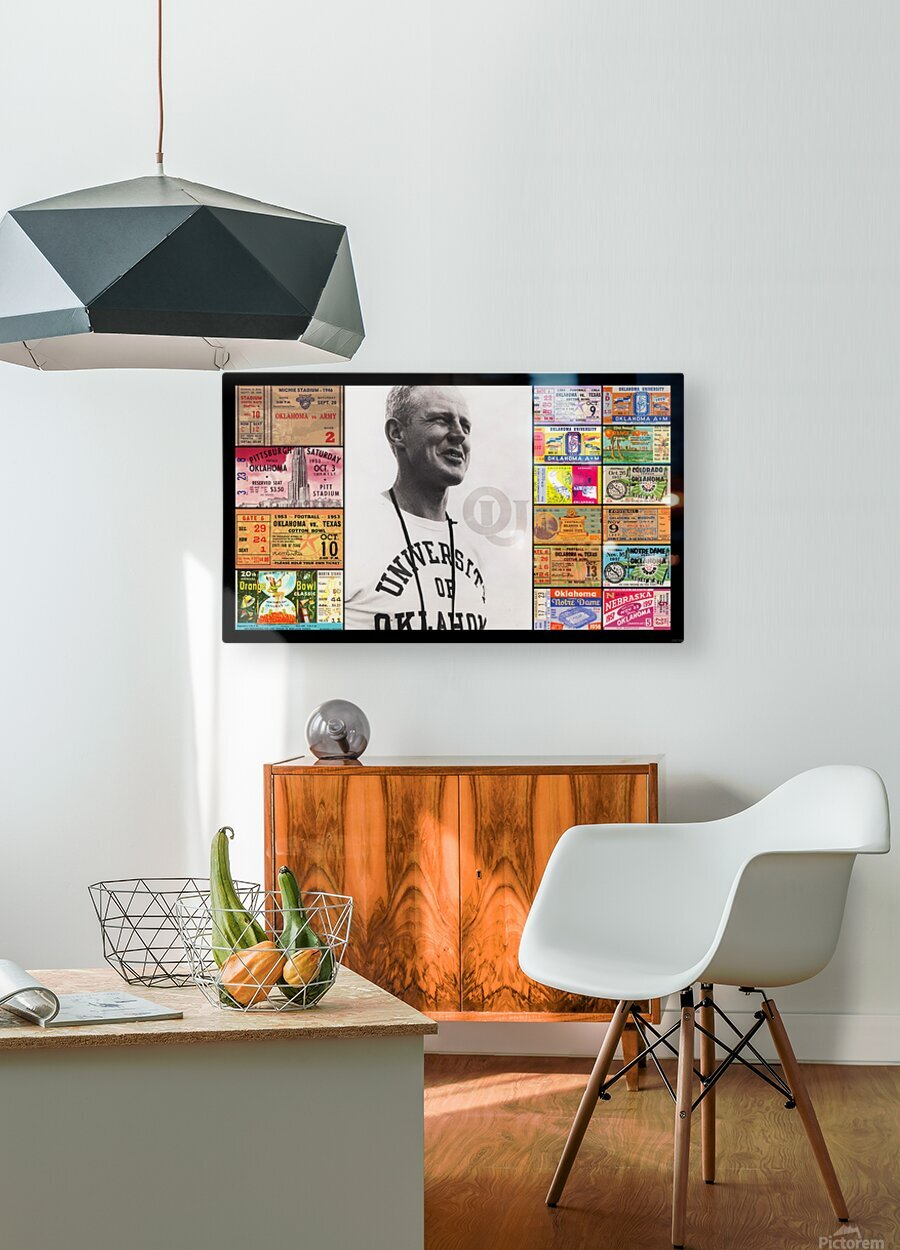 Oklahoma Football Bud Wilkinson Ticket Collage  HD Metal print with Floating Frame on Back