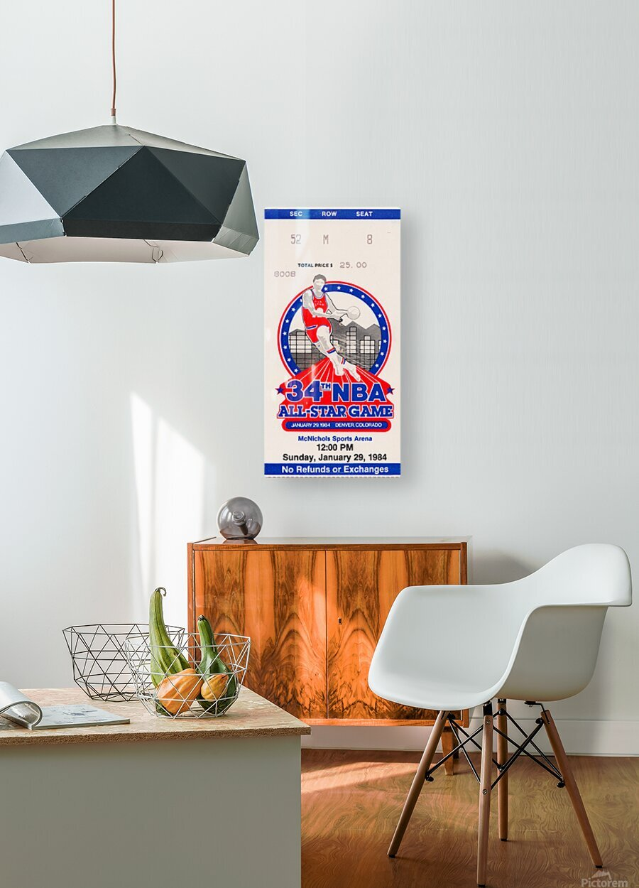 1984 NBA All-Star Game Ticket  HD Metal print with Floating Frame on Back