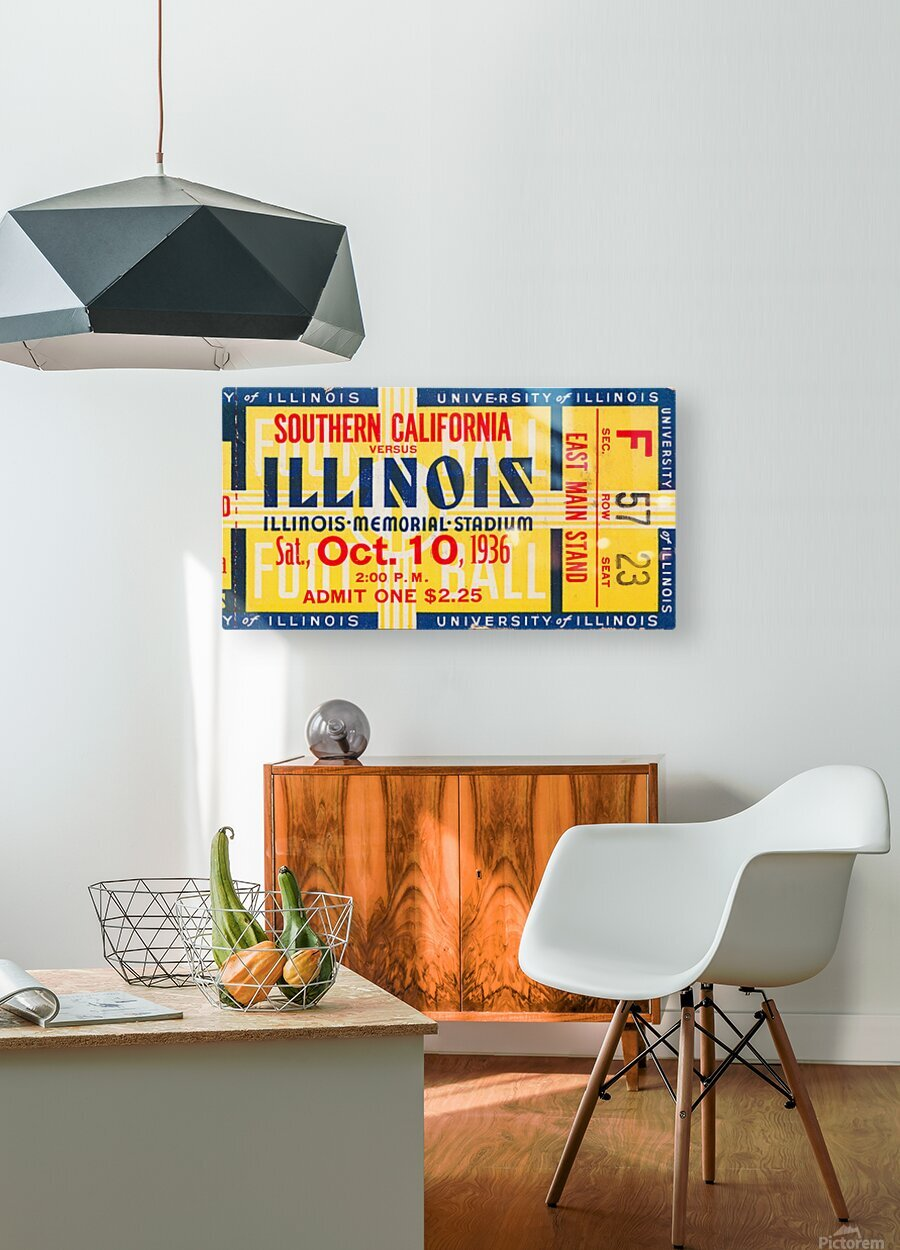 1936 USC vs. Illinois  HD Metal print with Floating Frame on Back