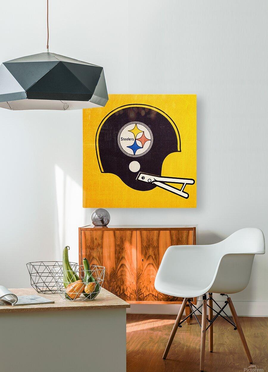 Vintage Pittsburgh Steelers Football Helmet Art  HD Metal print with Floating Frame on Back