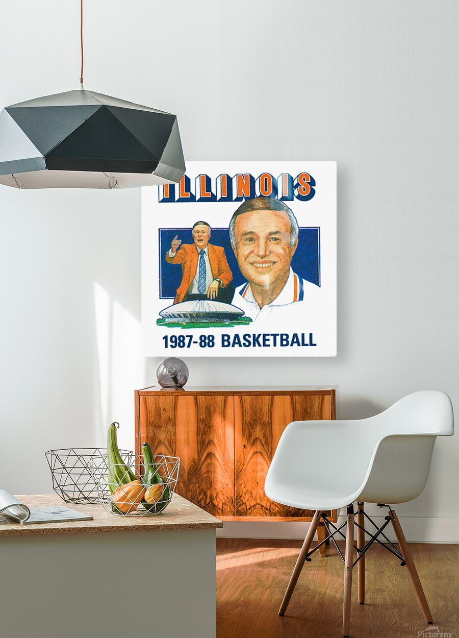 1987 Illinois Basketball Lou Henson  HD Metal print with Floating Frame on Back