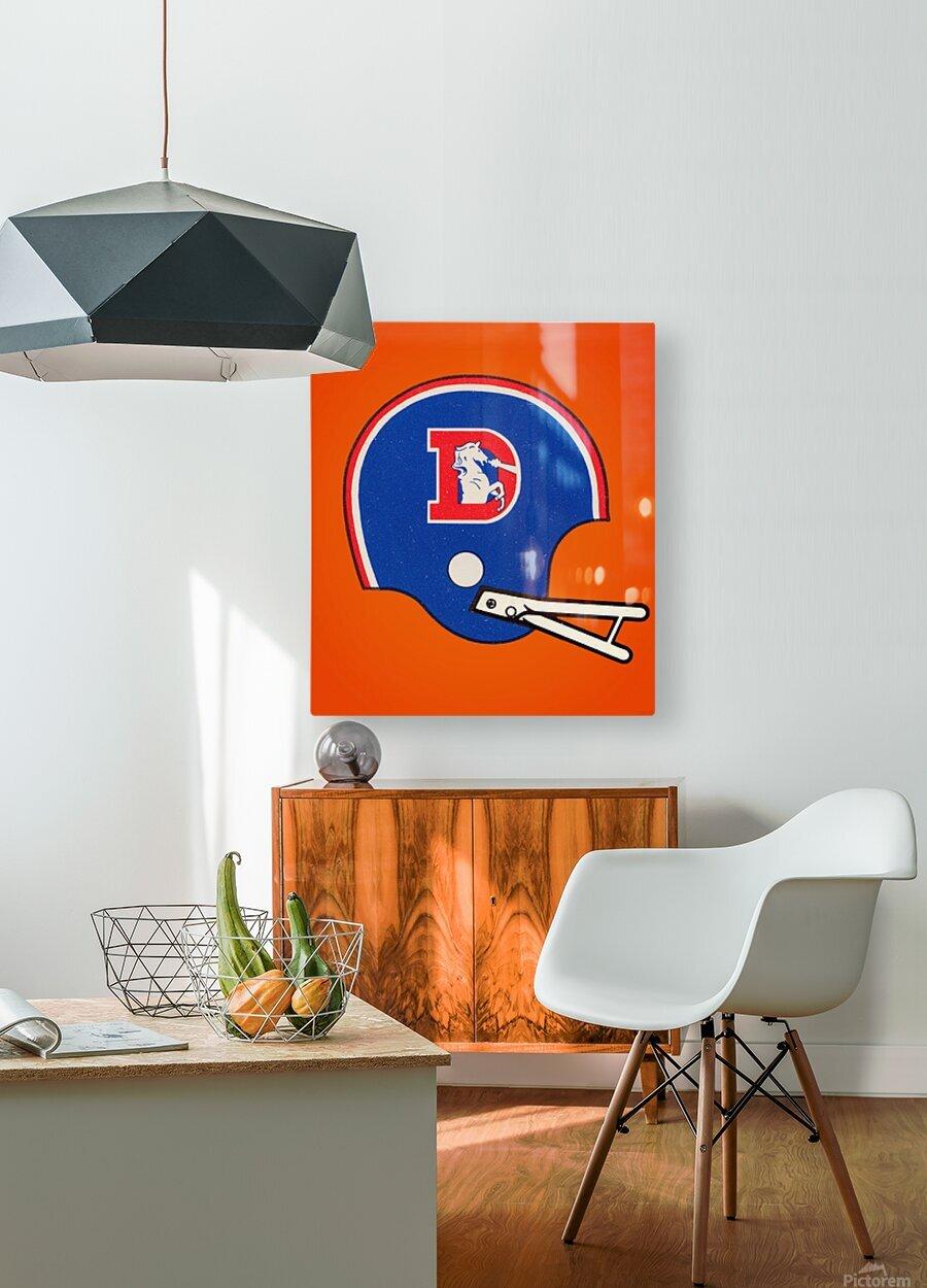 1982 Denver Broncos Football Helmet Art  HD Metal print with Floating Frame on Back