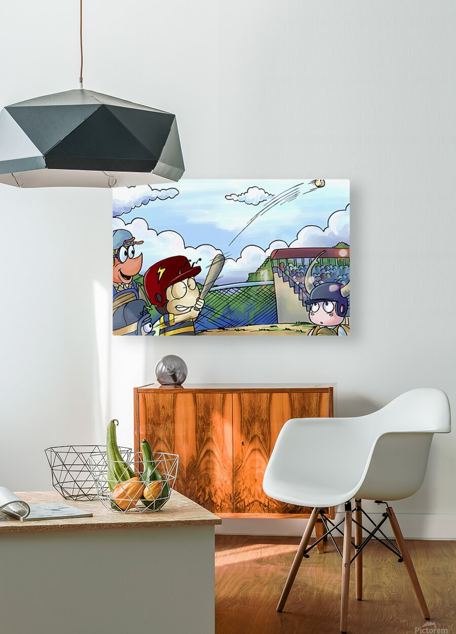 Home Run Swing  HD Metal print with Floating Frame on Back