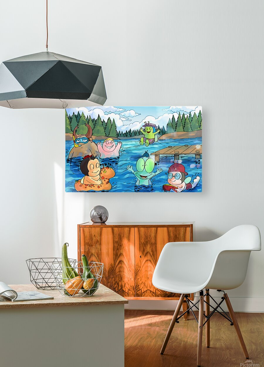 Summer Camp - at the lake  HD Metal print with Floating Frame on Back