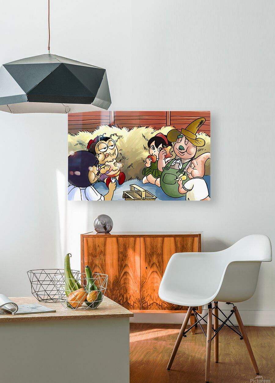 Farm Visit  HD Metal print with Floating Frame on Back