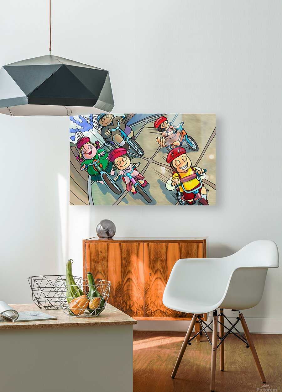 Riding Bikes  HD Metal print with Floating Frame on Back
