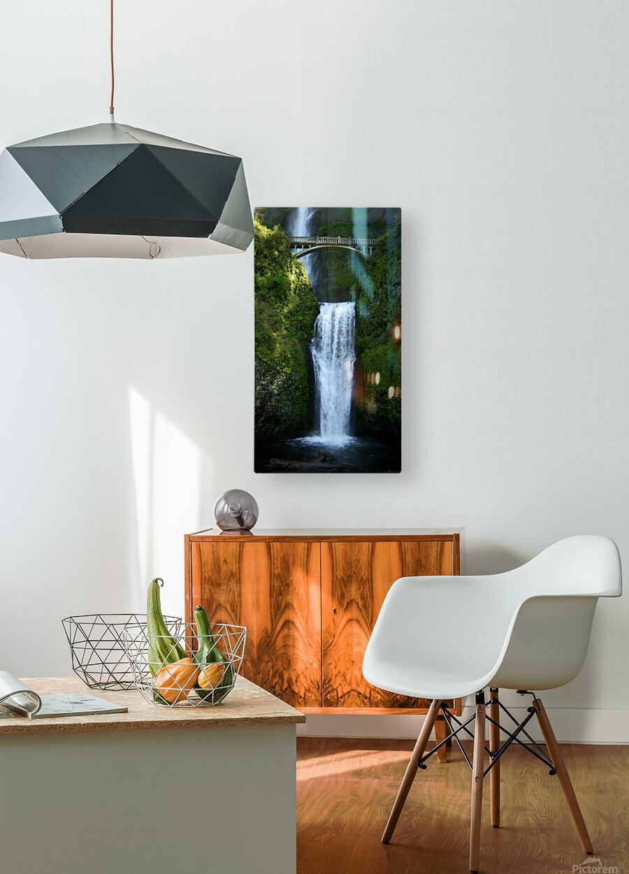 Multnomah Waterfalls Oregon  HD Metal print with Floating Frame on Back