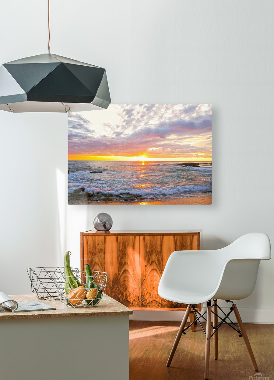 Golden Rays Across the Bay  HD Metal print with Floating Frame on Back