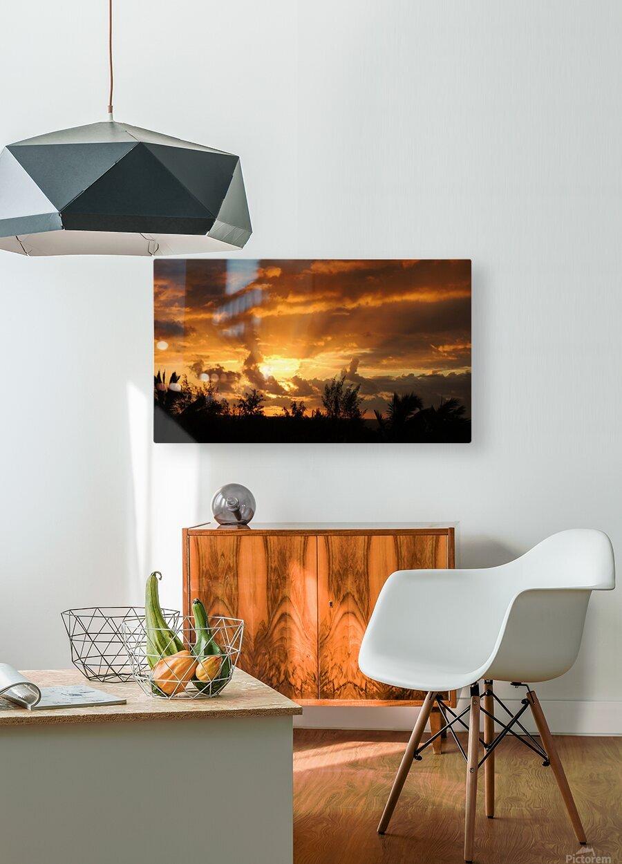 Golden Heavens  HD Metal print with Floating Frame on Back