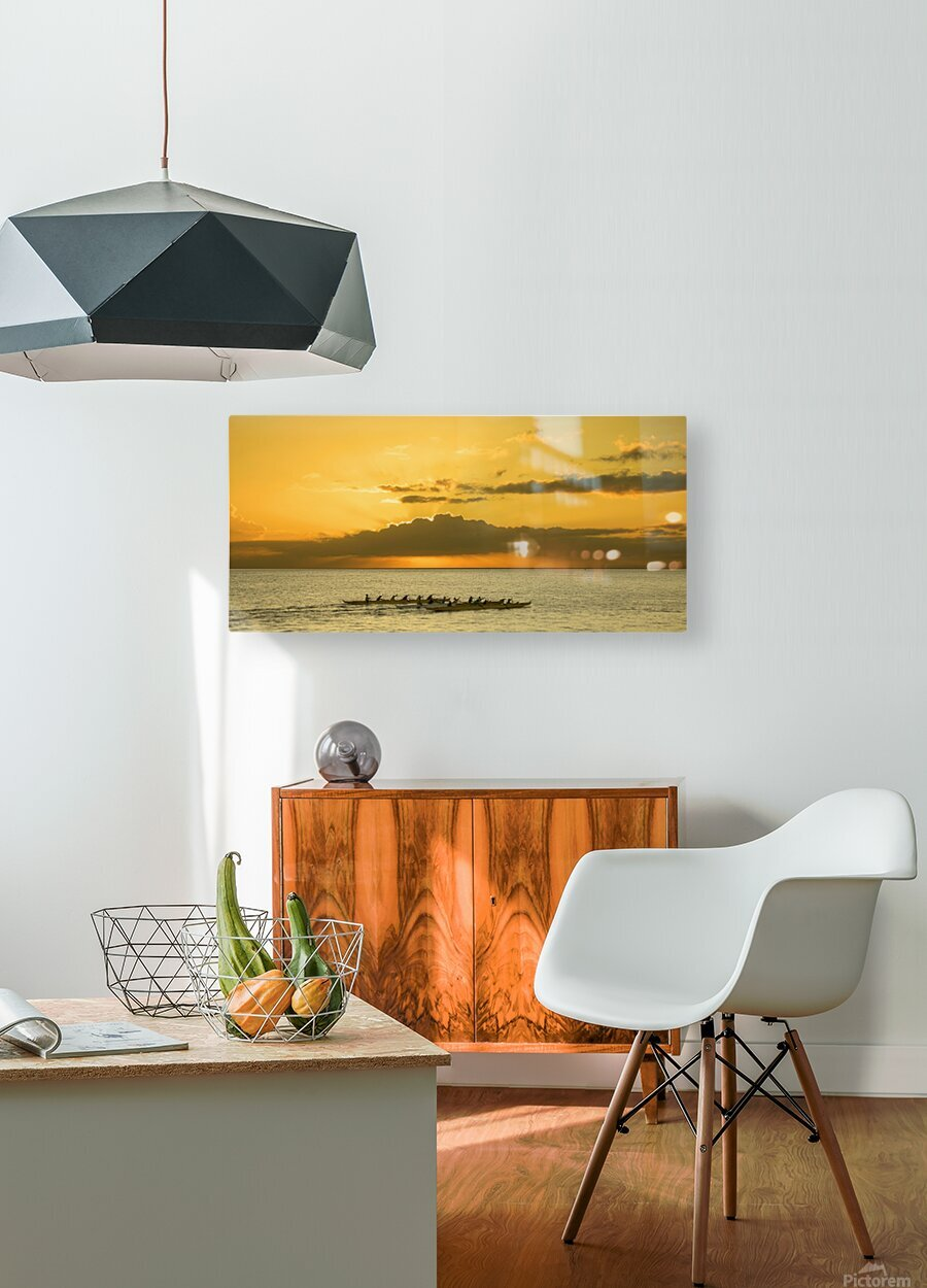 Long Canoes at Sunset  HD Metal print with Floating Frame on Back
