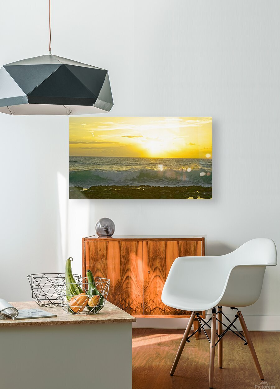 Waves at Sunset  HD Metal print with Floating Frame on Back