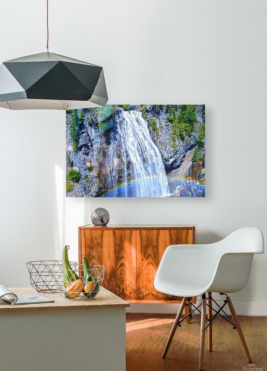 Rainbow Falls Rainier  HD Metal print with Floating Frame on Back