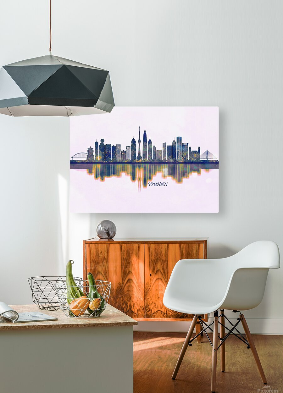 Wuhan Skyline  HD Metal print with Floating Frame on Back
