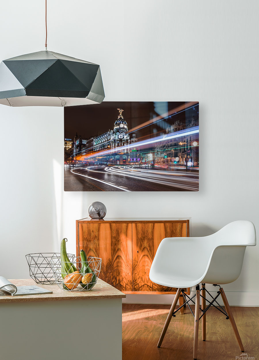 Madrid Traffic  HD Metal print with Floating Frame on Back