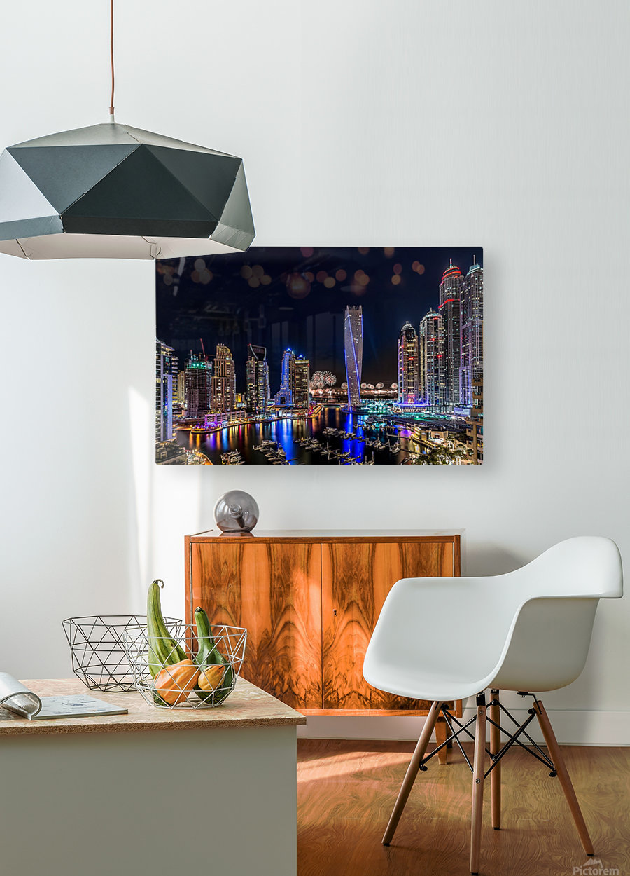 Happy New Year Dubai  HD Metal print with Floating Frame on Back