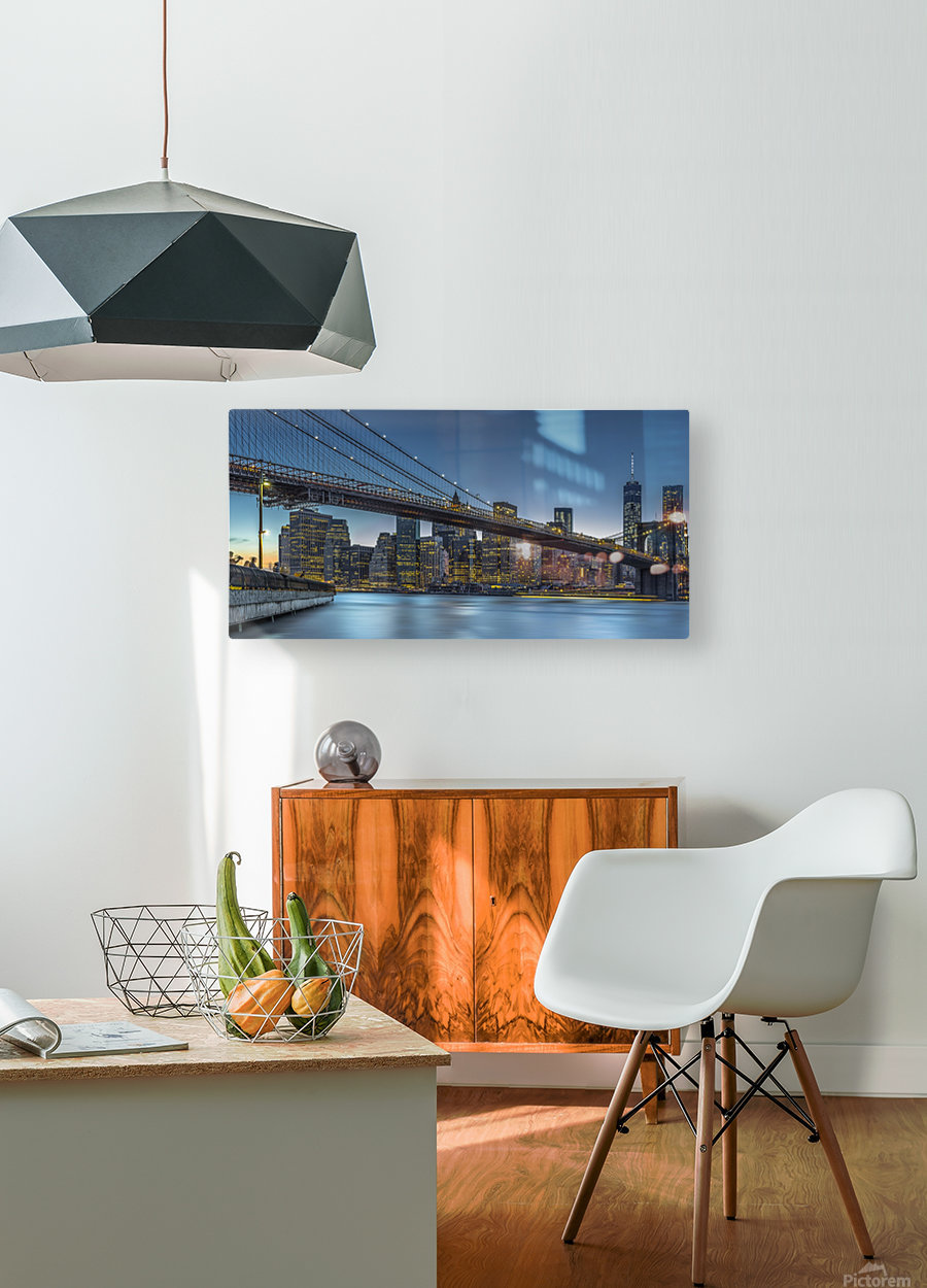 New York - Blue Hour over Manhattan  HD Metal print with Floating Frame on Back