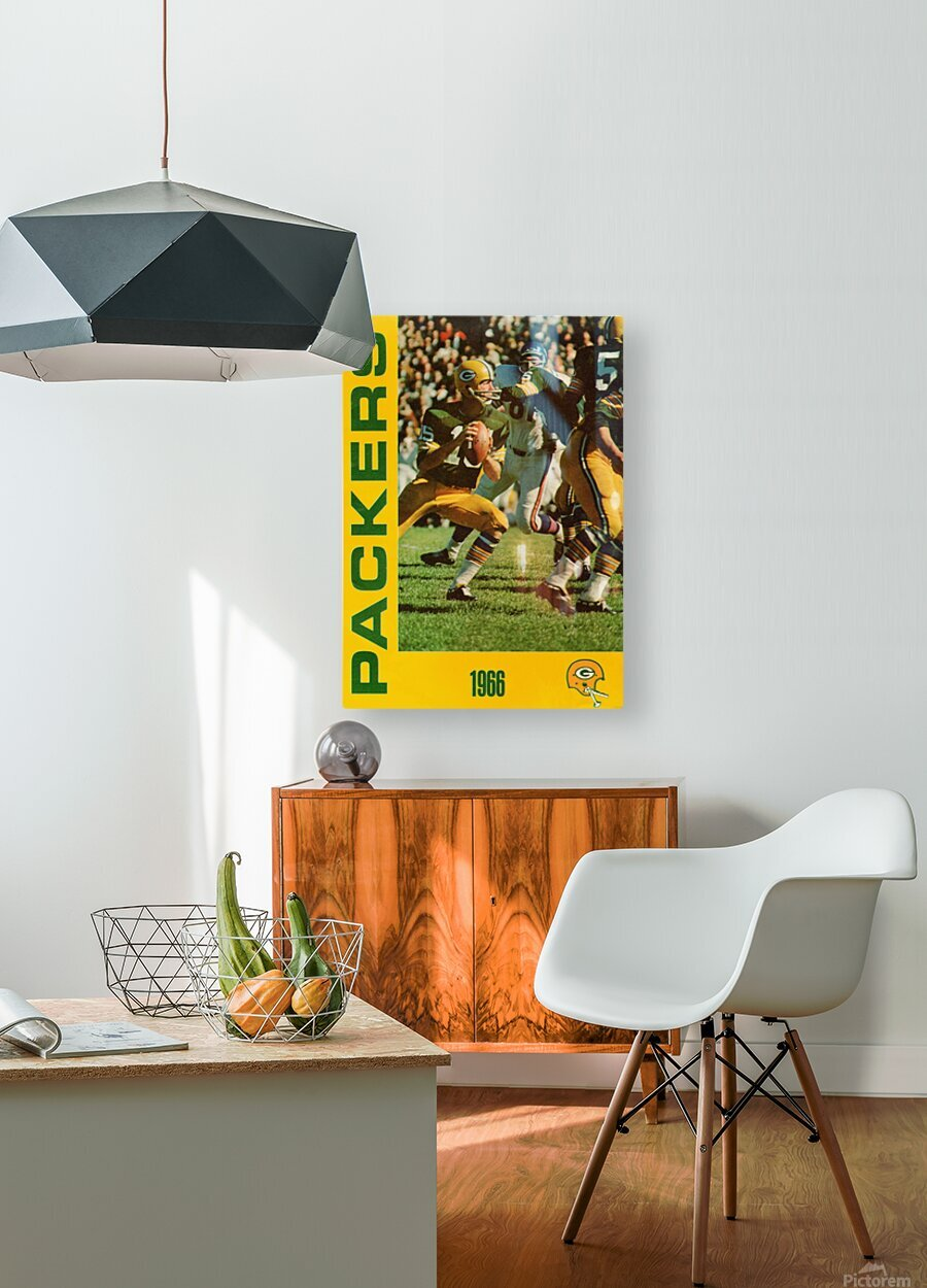 1966 Green Bay Packers Football Art  HD Metal print with Floating Frame on Back