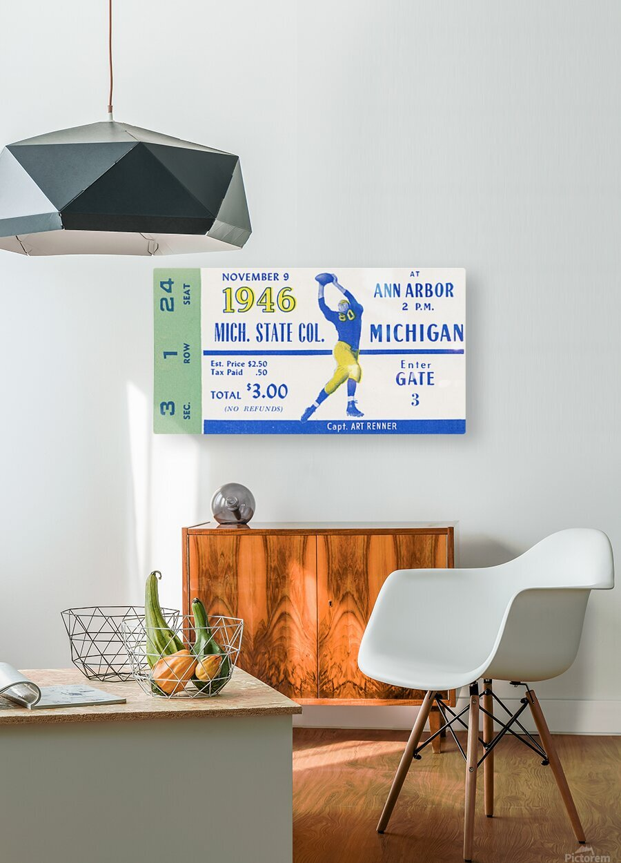 1946 Michigan vs. Michigan State  HD Metal print with Floating Frame on Back
